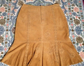 Vintage Suede Skirt  Embroidered