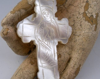 Vintage Carved Mary Jesus Mother of Pearl Cross Romania