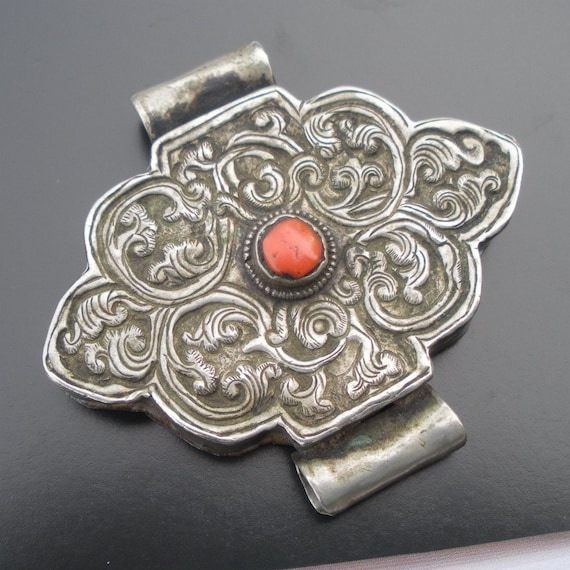 Coral and Silver Antique Prayer Box Ghau from Tibet