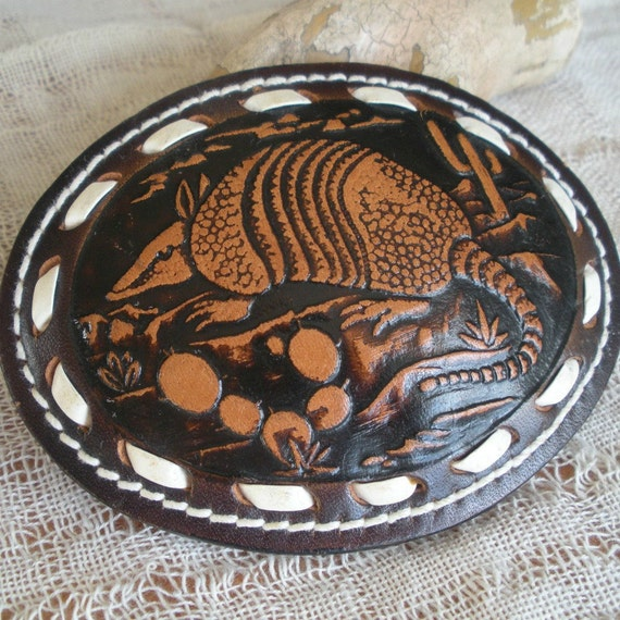 Tooled Leather Armadillo Belt Buckle Rockabilly Beauty