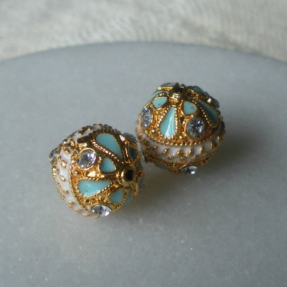 Reserved Turquoise and White  Enamel and Gold Beads with Faceted Crystal