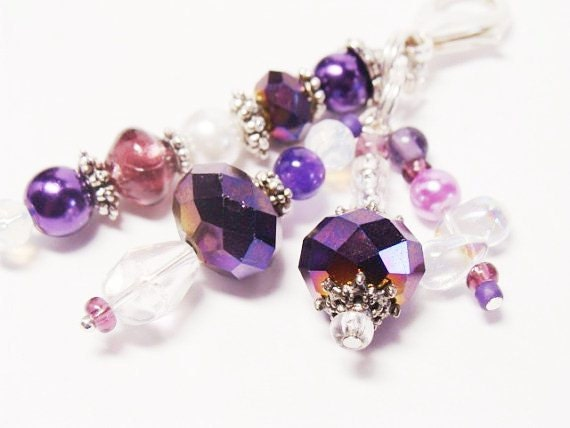 KeyChain/Bag Charm -  Purple and Iridescent Beads (KC 4030)