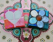 Glow Heart and Flower Mosaic Magnet Pair