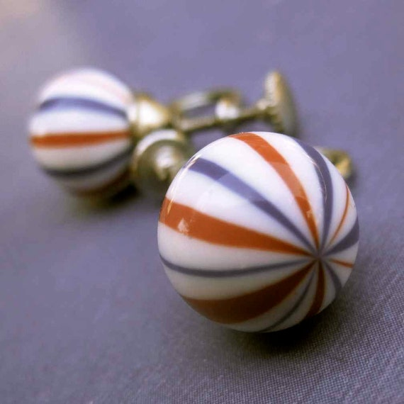 Vintage Red, White, and Blue Glass Bauble Earrings