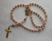 Catholic Rosary of Bronze Glass Pearls