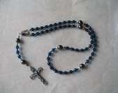 Catholic Rosary of Teal Faceted Glass Beads