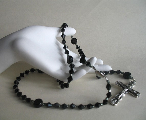 Ladies' Black Rosary, Needs a good home, more than 50% off