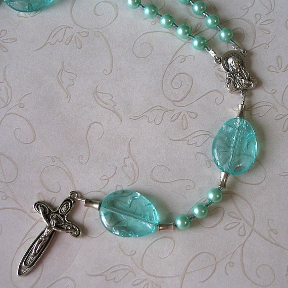 Catholic Rosary of Aqua Glass Pearls