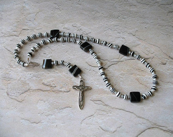 Modern Black and White Catholic Rosary - Needs a Good Home, More than 50% off