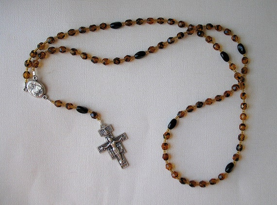 Franciscan Crown Rosary in Tortoise Shell Glass Beads