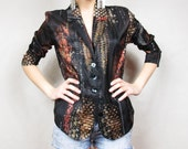 25% OFF SALE Digital Nature McQueen Style Hyperreal Silk Blouse (M) Featured on Etsy Homepage Sept.4