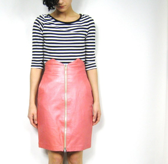 Biker Barbie Pink Leather Skirt (XS/S)