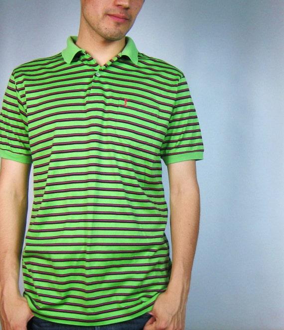 SALE Mens YSL Striped Golf Polo (L)