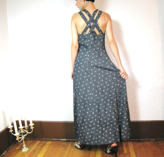 S A L E 90s Criss Cross Back Floral Maxi Dress (M)