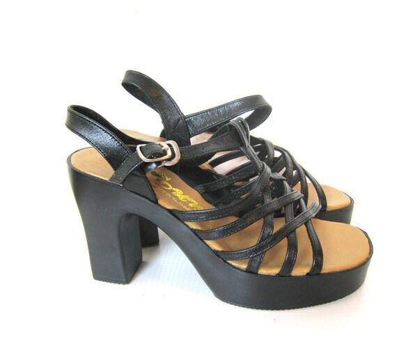 S A L E 1970s Strappy Platform Heels (6.5/7)