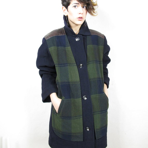 25% OFF SALE 80s Leather and Plaid Unisex Wool Winter Coat  (L/XL)
