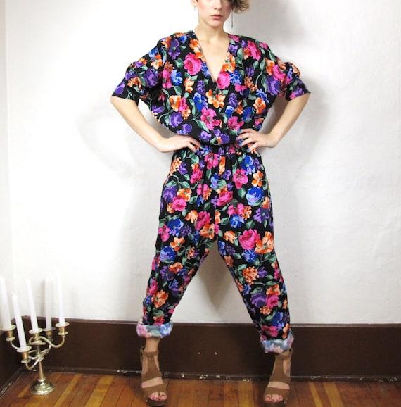 80s Super Floral Slouchy Harem Pants Jumpsuit (M/L)