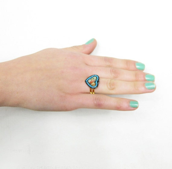 S A L E Turquoise Floral Heart Repurposed Adjustable Ring