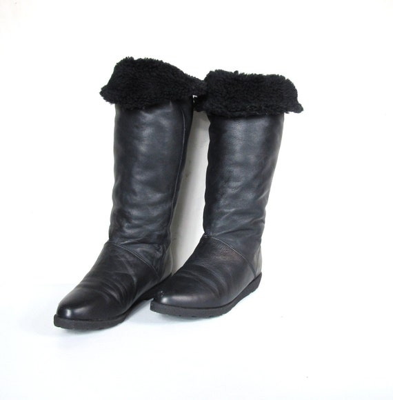 S A L E 80s Cougar Knee High Black Leather Faux Fur Boots (10)