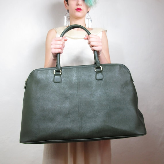 Large Avacado Pebbled Faux Leather Large Weekender Bag