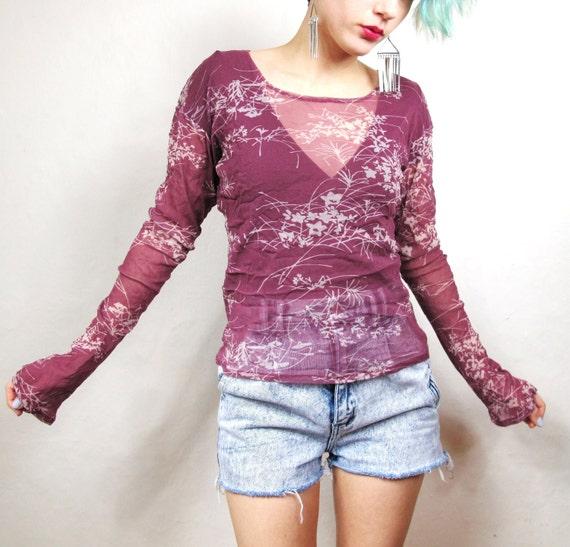 25% OFF SALE 90s Mauve Floral Sheer Mesh Grunge Shirt (M/L)