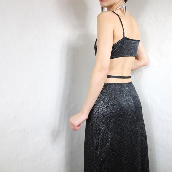 90s Sparkle Silver Cut Out Back Maxi Dress (S)