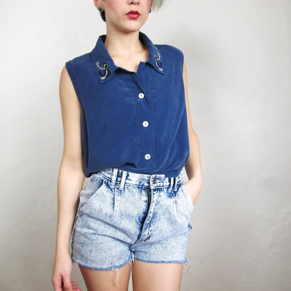 Nautical Anchors Embroidered Navy Silk Tank (S/M)