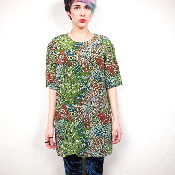 80s Jungle Leaf Print Silk Blouse (M/L)