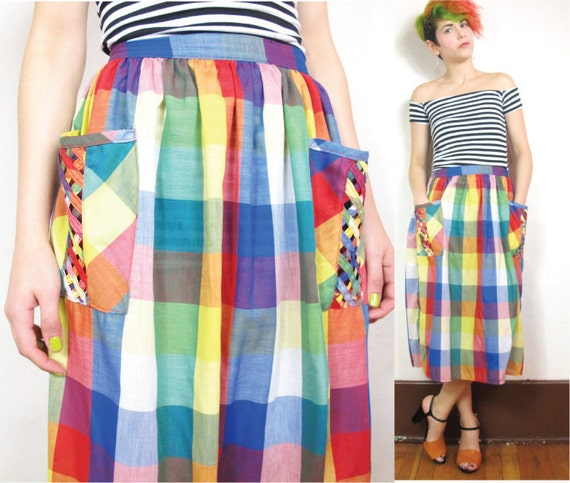 Rainbow Picnic Patch Pocket Skirt (XS/S)