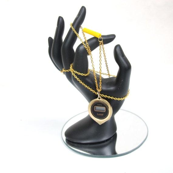 SALE 80s Geek Chic Gold Digital Chain Watch Necklace