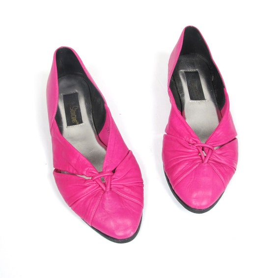 SALE 80s Hot Pink Jazz Pointed Toe Cutout Flats (7.5)