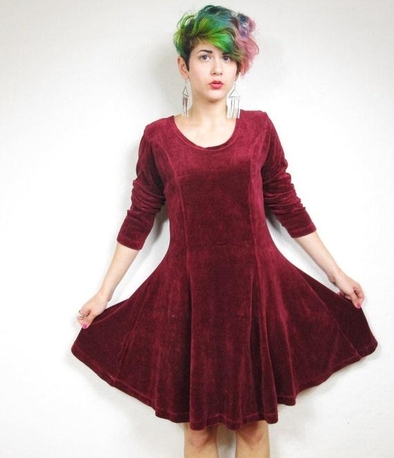 90s Red Velvet Babydoll Grunge Dress (M)