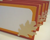 Autumn leaves place cards, fall namecards, Thanksgiving (set of 5)