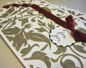 Black and ivory damask greeting cards - set of 4