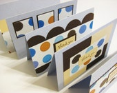 Thank you card set, blue and brown mod polka dots (5)