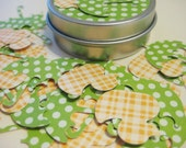 Baby shower confetti, rubber duckies and green umbrellas 50 pieces