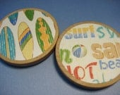 Wooden magnets, surfboards and sand, set of 2