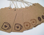 Coffee lover gift tags, hand stamped kraft tags, set of 8