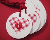 Red gingham hearts and buttons, gift tags, set of 8