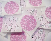 Happy Easter, pink bunny stickers, 12 count