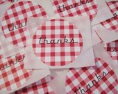 Red and white gingham thank you stickers, 12 count