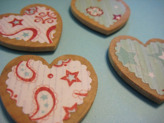 Red and blue paisley wooden heart magnets set of 4