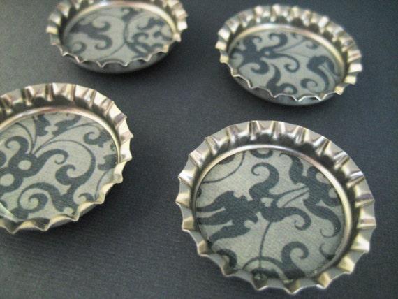 Navy blue damask bottlecap magnets set of 4