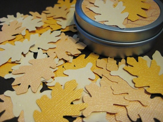Autumn leaf confetti, 48 shimmery and glittery pieces