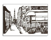 Paris in Black and White 5x7 Print -Cafe Amour-Coffee Shops from around the world- (Buy 3 Get One Free)