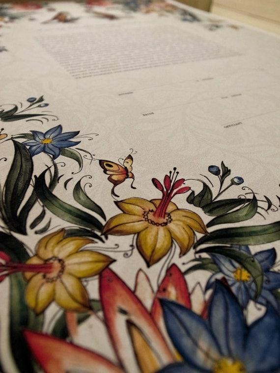 Ketubah Giclée Print by Jennifer Raichman - Tattoo Wild Flowers