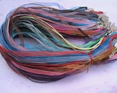 ON SALE--100pcs 18-20 inch adjustable assorted color (20 colors) ribbon necklace cord/perfect for glass tile