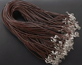 22pcs 1.5mm 22-24 inch adjustable coffee/brown REAL LEATHER necklace cord with lobster clasp