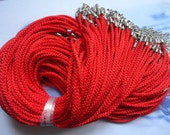 20pcs  17-19 inch 2mm red/Bright red satin/twist silk necklace cord with extension chain and clasp