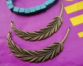 5pcs 90x17mm Big Feather Antique Bronze  Retro Pendant Charm For Jewelry Pendant